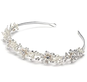 Amazon.com   USABride Romantic Bridal Floral Headband with Simulated ... 20cec8f5215