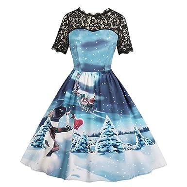 525c630ed3b08 Chaofanjiancai Clearance Women Xmas Christmas Lace Short Sleeve ...