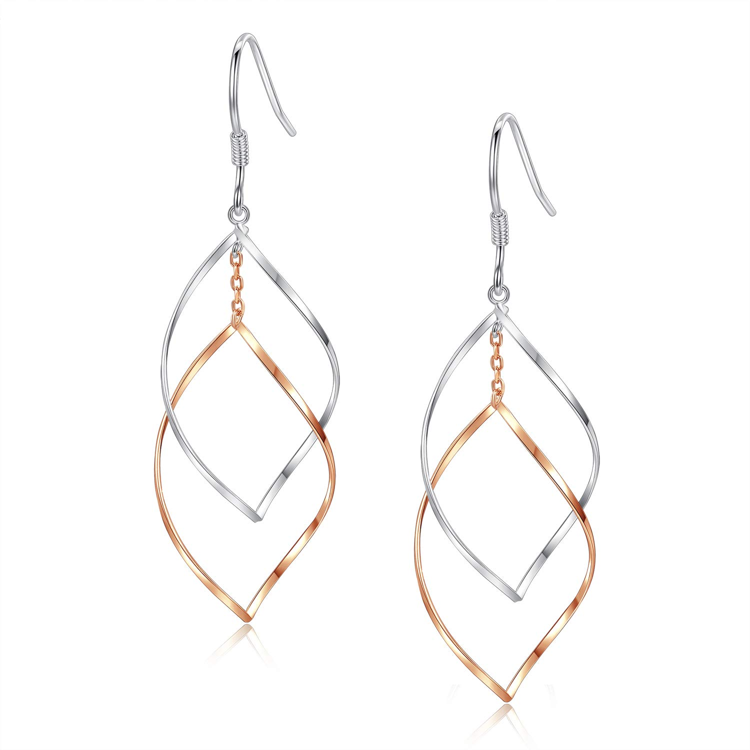 Rose Gold Plated Sterling Silver Double Linear Loops Design Twist Wave Drop Earrings for Women Girls