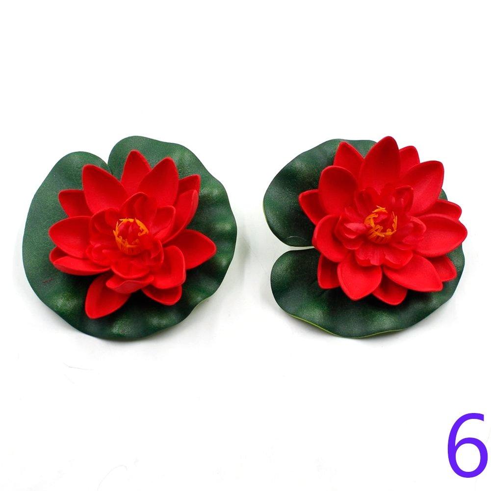 taloyer Artificial lirio de agua flor de loto flotante Piscina las plantas Artificial flores adornos para decoración de hogar fiesta Hotel: Amazon.es: ...