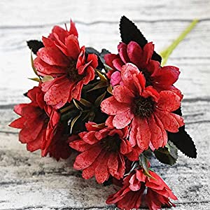 10Heads/1 Bundle Silk Daisy Bride Bouquet For Christmas Home Wedding Decoration Fake Plants Artificial Flowers red 75