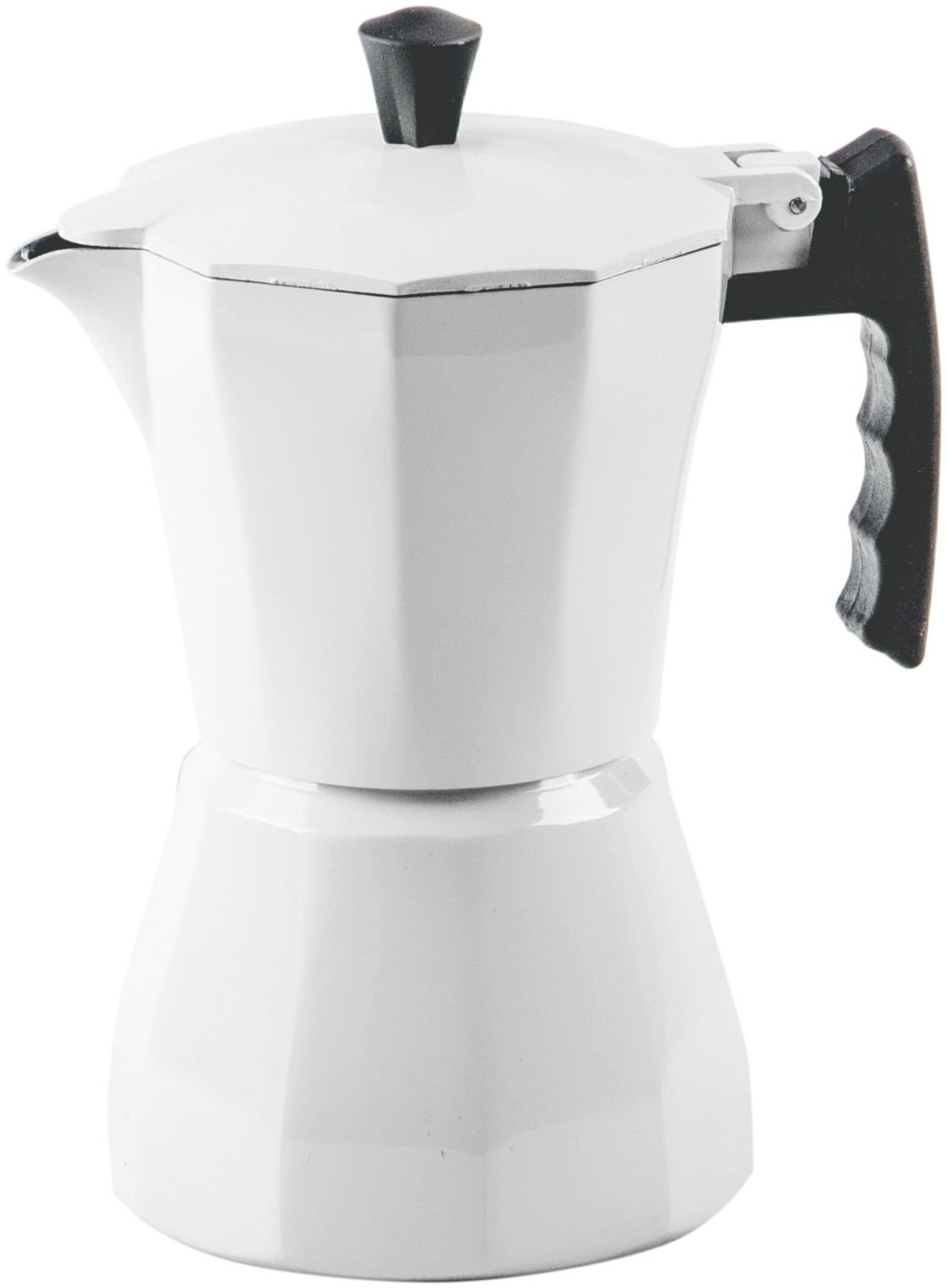 Palais Dinnerware Stovetop Espresso Maker - Aluminum Coffee Maker Moka Pot (White, 3 Demitasse Cups)