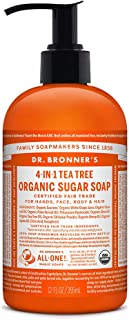 product image for Dr. Bronner's - Organic Sugar Soap (Tea Tree, 12 Ounce) - Made with Organic Oils, Sugar and Shikakai Powder, 4-in-1 Uses: Hands, Body, Face and Hair, Cleanses, Moisturizes and Nourishes, Vegan