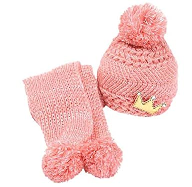 4454cfb671e Buedvo Fashion Kids Girls Knitted Woolen Crown Decro Hat Gloves and Scarf  Winter Set (Pink