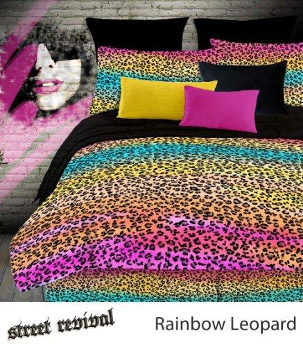 Veratex Street Revival 100% Polyester 3-Piece Kids Rainbow Leopard Sheet Set, Twin Size, Multi