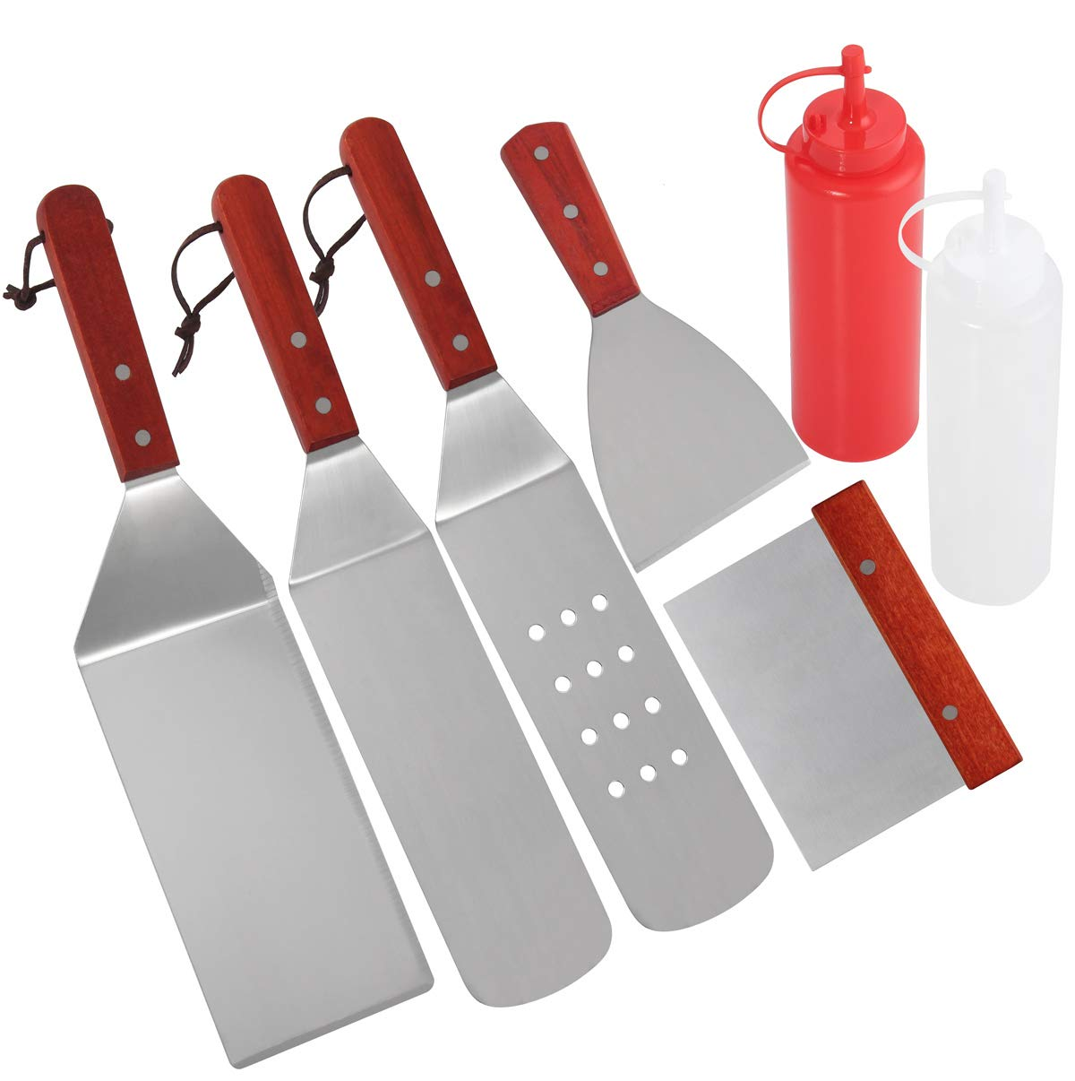 POLIGO 7pcs Restaurant Grade Griddle Accessories Kit in Packing Box - Heavy Duty Stainless Steel Griddle Tool Set with Riveted Wooden Handle - Great for Flat Top Cooking Camping Tailgating Grill