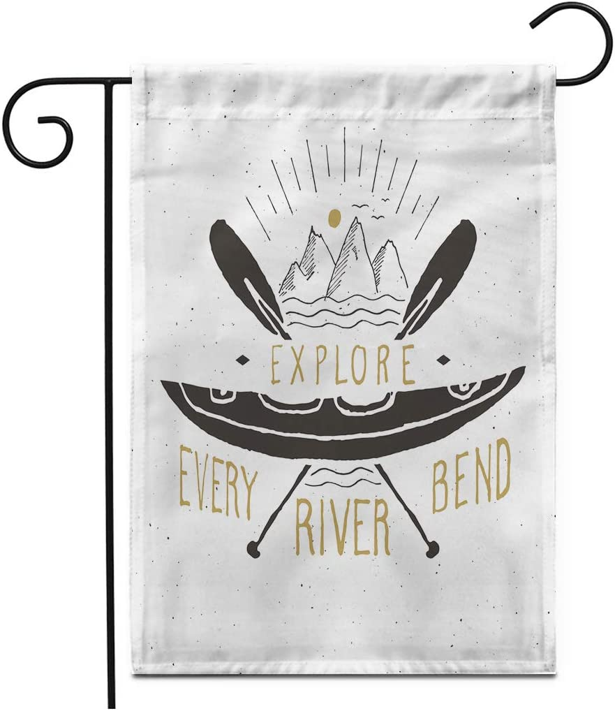 """Adowyee 28""""x 40"""" Garden Flag Kayak Canoe Label Grunge Retro Typography Print Black Camping Element Expedition Outdoor Double Sided Decorative House Yard Flags"""