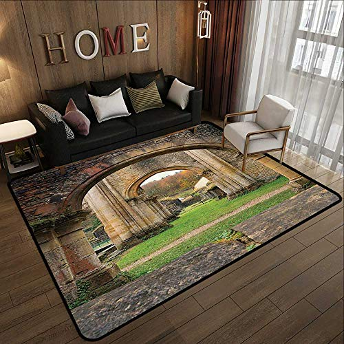 Kitchen Rugs,Antique Decor,Autumn View on The Ancient Ruins of Famous Medieval Century in Belgium,Sand Brown Green 78.7