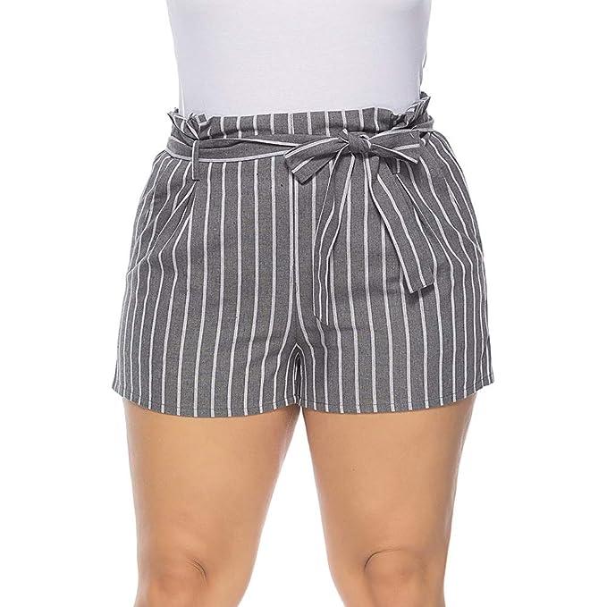 0a7d33e21df6 BaronHong - Rayas para Mujer, Lino, Tallas Grandes, pantalón Corto ...