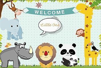Amazon Com Lfeey 10x8ft Cute Baby Shower Backdrop For Boy Cartoon Zoo Giraffe Lion Elephant Panda Photo Background Expectant Mother Gender Reveal Party Photoshoot Cloth Wallpaper Camera Photo