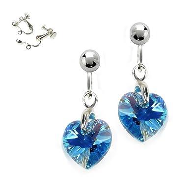 21b199152 Blck Moon® Light Blue Clip On Earrings with Swarovski Crystal Aquamarine AB  10mm Hearts - Silver Plated: Amazon.co.uk: Jewellery
