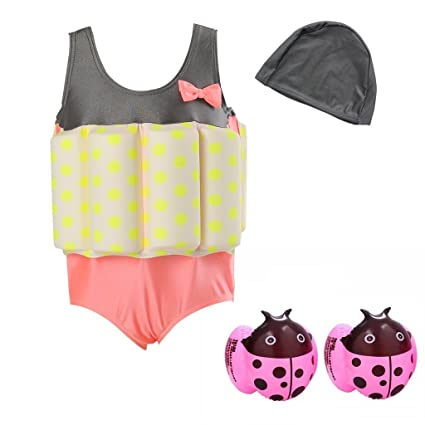 Amazon.com: Niños traje de baño traje de baño con flotador ...