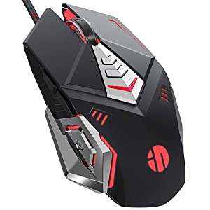 PW5 Wired Gaming Mouse, 7 Programmable Buttons, Silent Click, 4 Levels Adjustable DPI, RGB, USB Wired Mice for PC, Mac, Laptop, Computer-Black