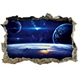 DNVEN 23 inches x 15 inches Planets Space Clouds Sun Porthole Window Milky Way Galaxy 3D Window View Wall Arts Decals…