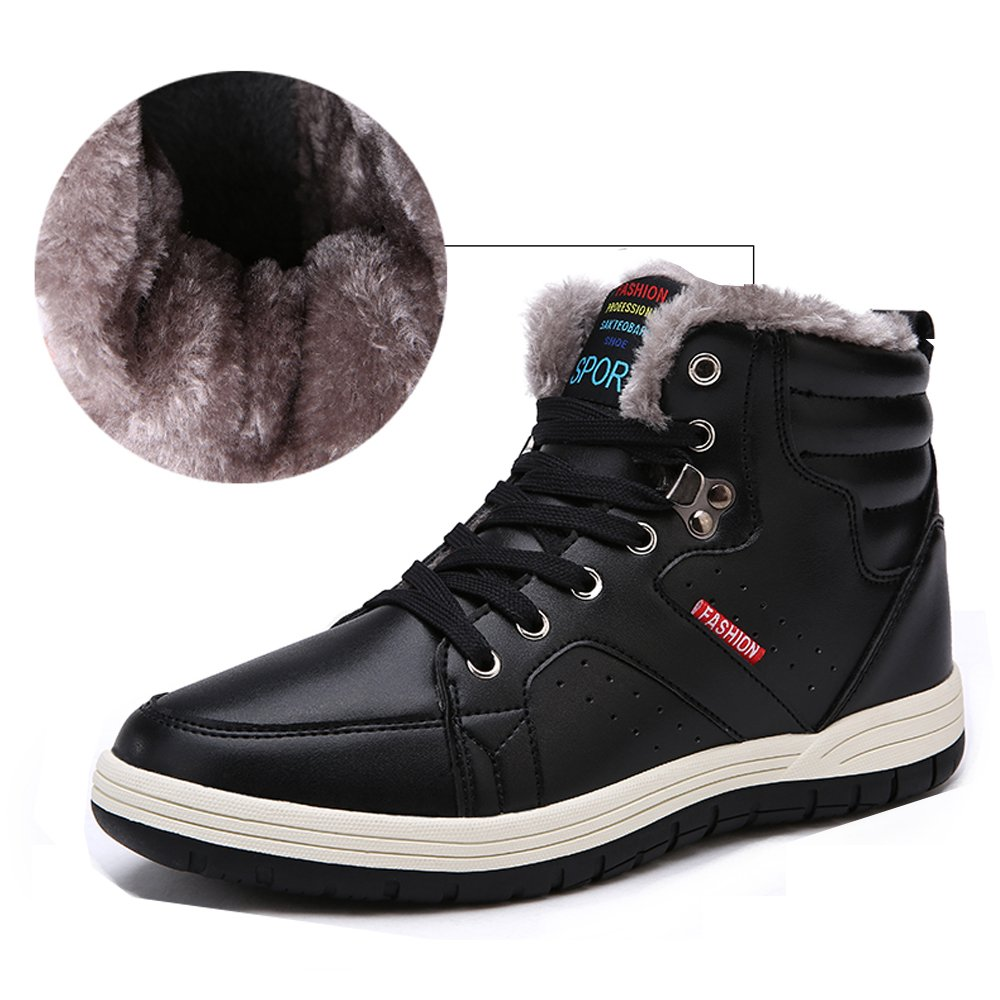 Aliwendy Mens Winter Snow Boots Fur Lined Waterproof Warm Sneaker Non-Slip High Top Outdoor Shoes (Black 12D(M) US)