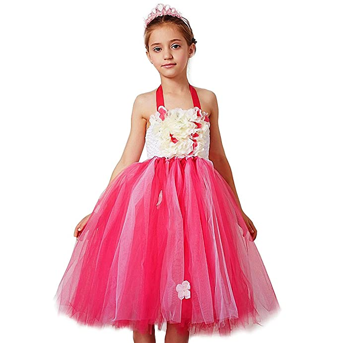 0dc9cadc69c3 Amazon.com  Dressy Daisy Girls Tulle Halter Wedding Flower Girl ...