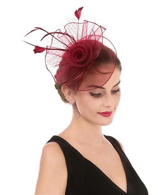 Lucky leaf las mujeres chica tocados pelo clip horquilla sombrero boda  coctel tea party sombrero jpg b7cccdfcdb3