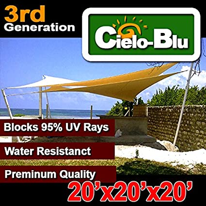 3rd Generation 20'x20'x20' triangle outdoor sun sail shade canopy  cover-choose (20x20x20, Sand)