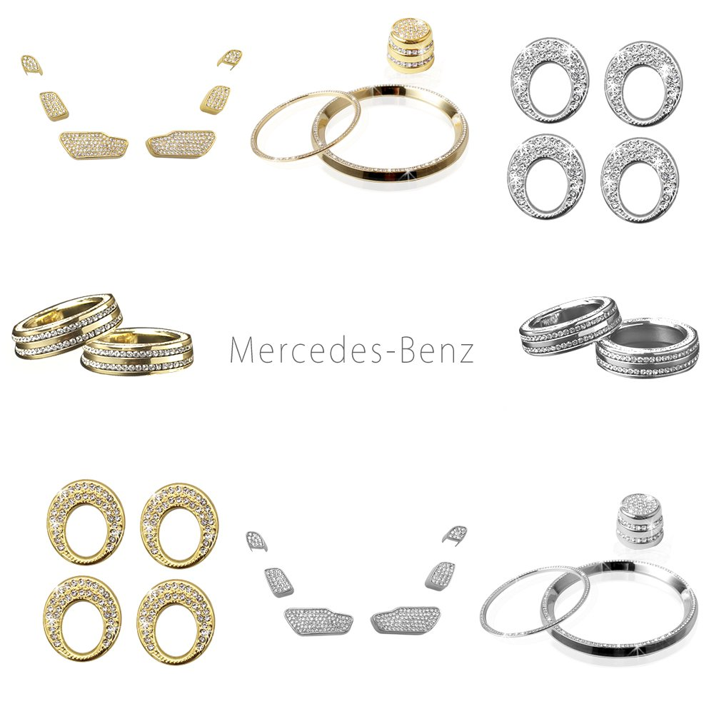 1797 Compatible AC Buttons Caps for Mercedes Benz Accessories Parts Bling AMG W205 X253 C GLC Class Air Conditioning Control Switch Covers Decals Interior Inside Decor Women Men Crystal Gold 11 Pack