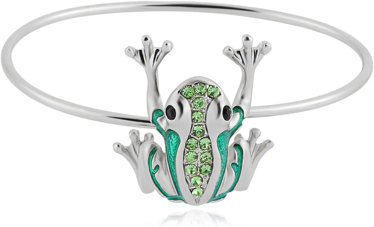 NOUMANDA Cute Animal Frog Bangle Rose Gold Silver Plated Crystal Charm Bracelet