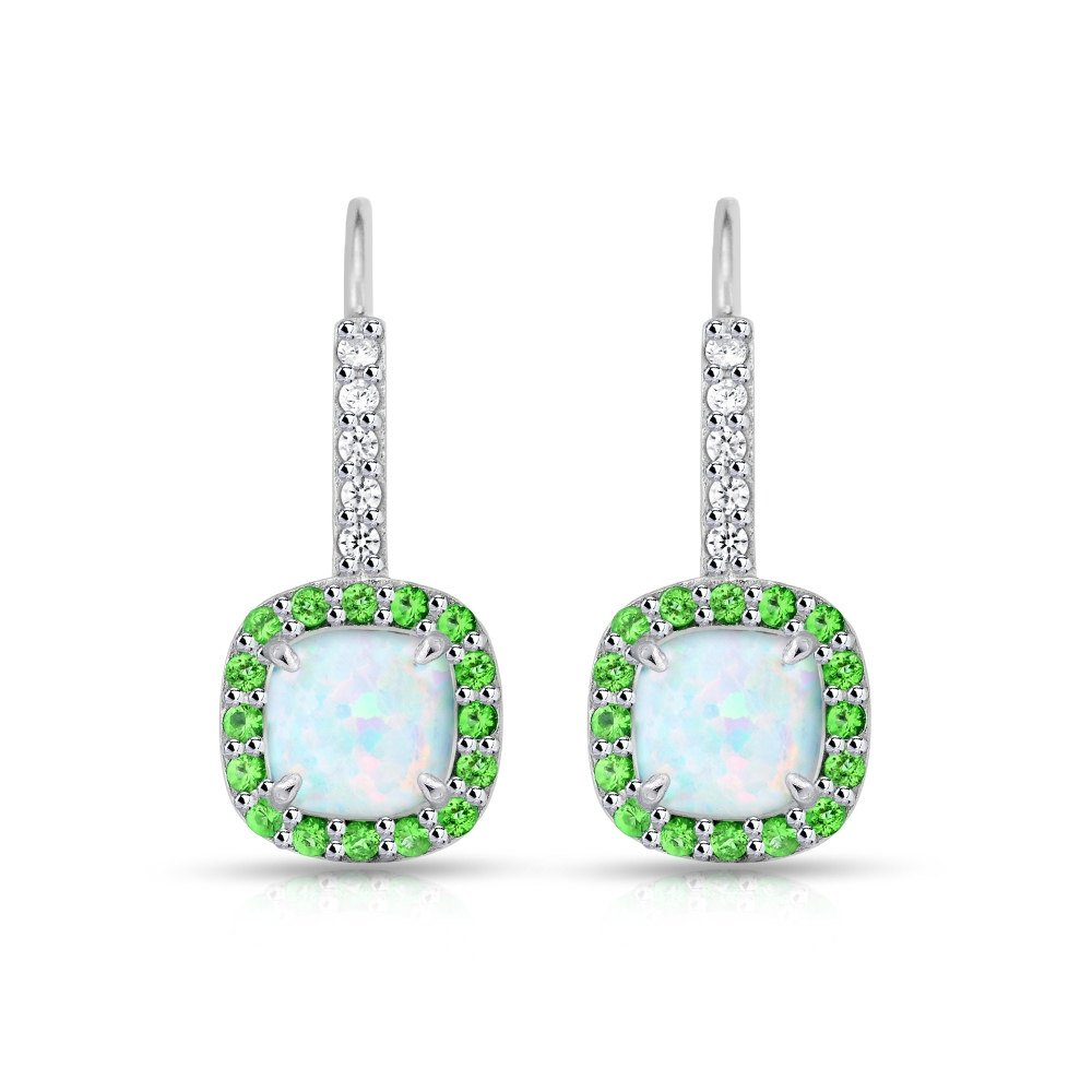 Sterling Silver Simulated White Opal & Simulated Emerald Cushioncut Halo Leverback Earrings