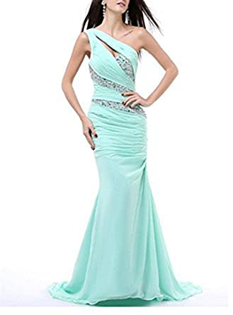 Vickyben Womens One Shoulder Beaded ruched Mermaid Chiffon Evening Dress Prom Dress Bridesmaid Dress Ball Gown