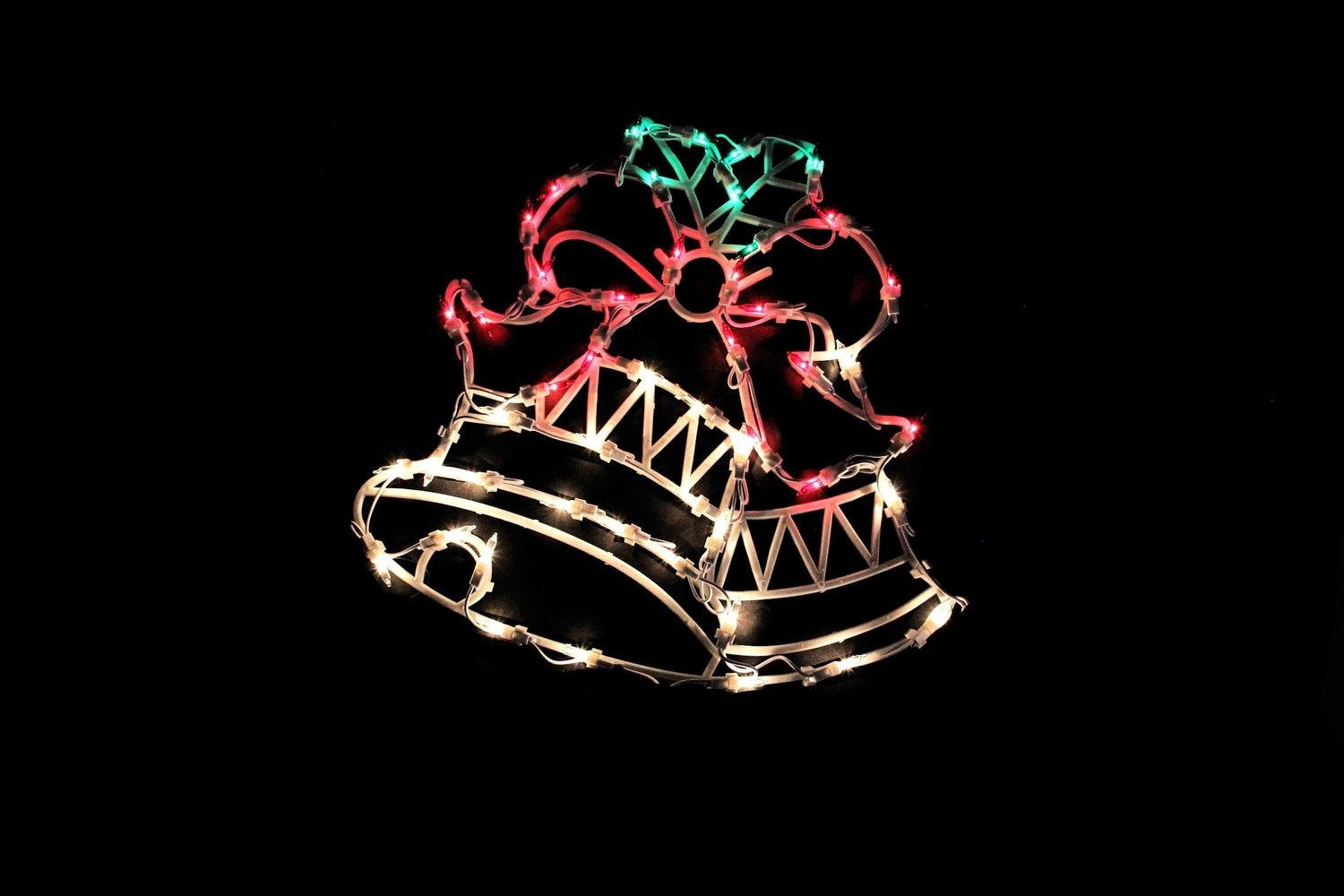Northlight 18'' Lighted Two Bells with Bow Christmas Window Silhouette Decoration