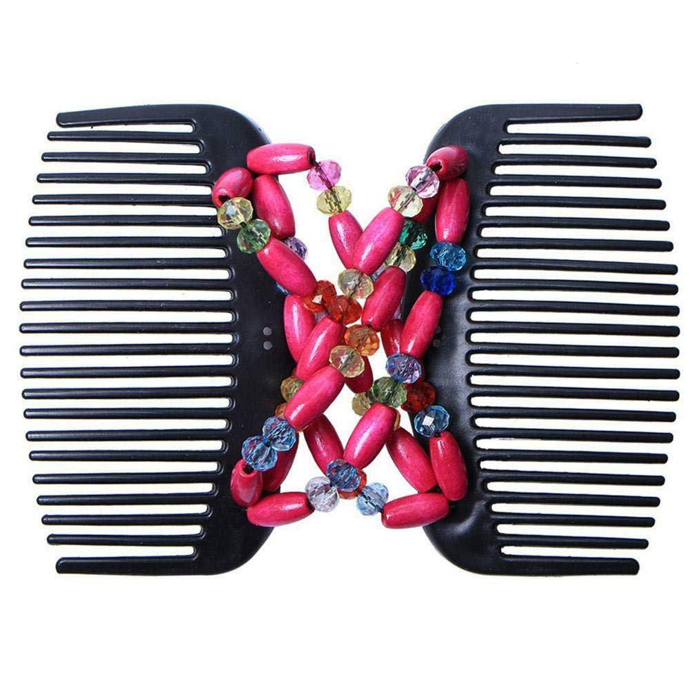 Magic Hair Combs Wooden Stretchy Double Clip Hair Slide Comb Double Slide Clip