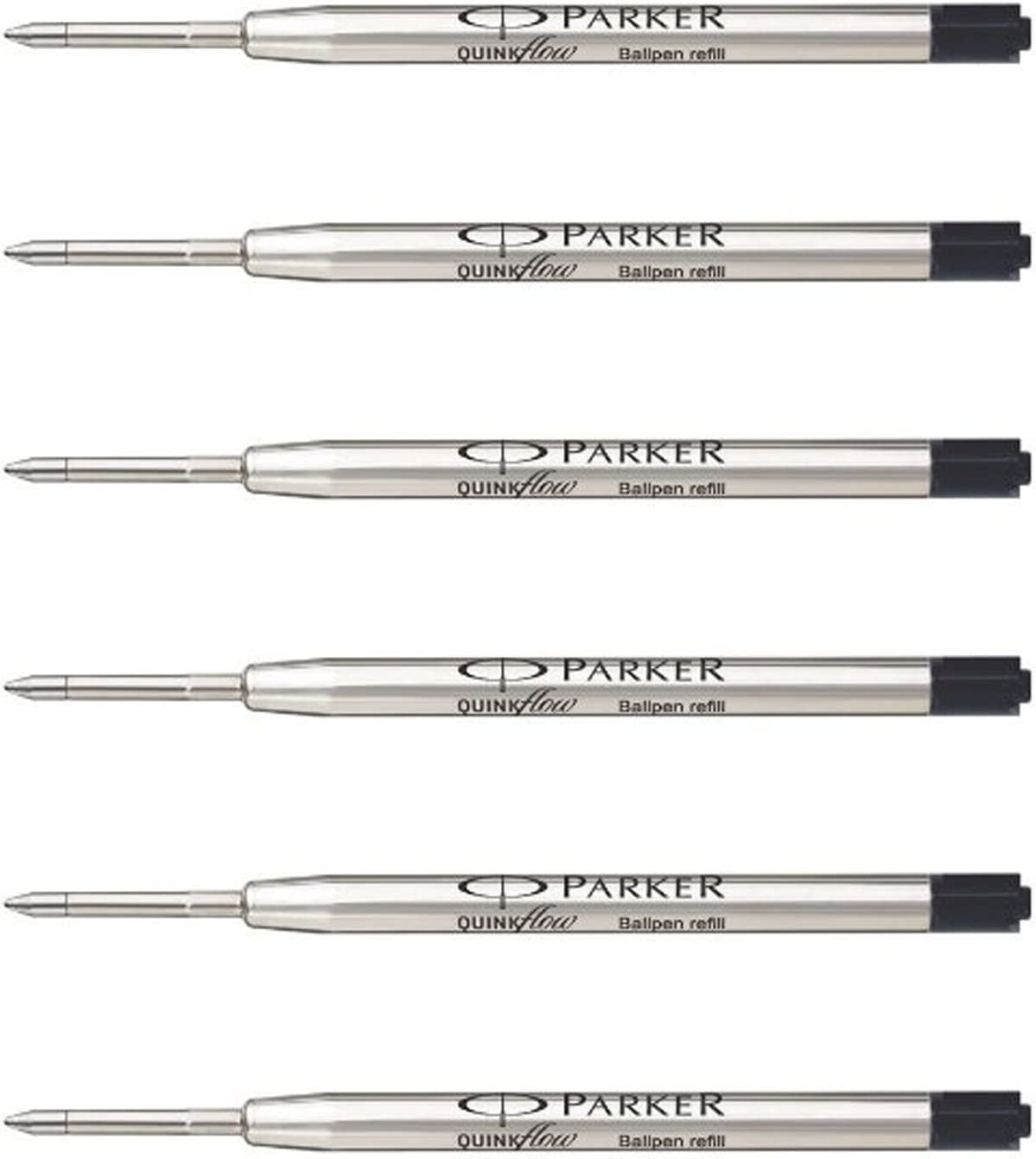 2 Pack Genuine Parker Ballpoint Refill BLACK Biro Medium Quink Flow Ball Pen