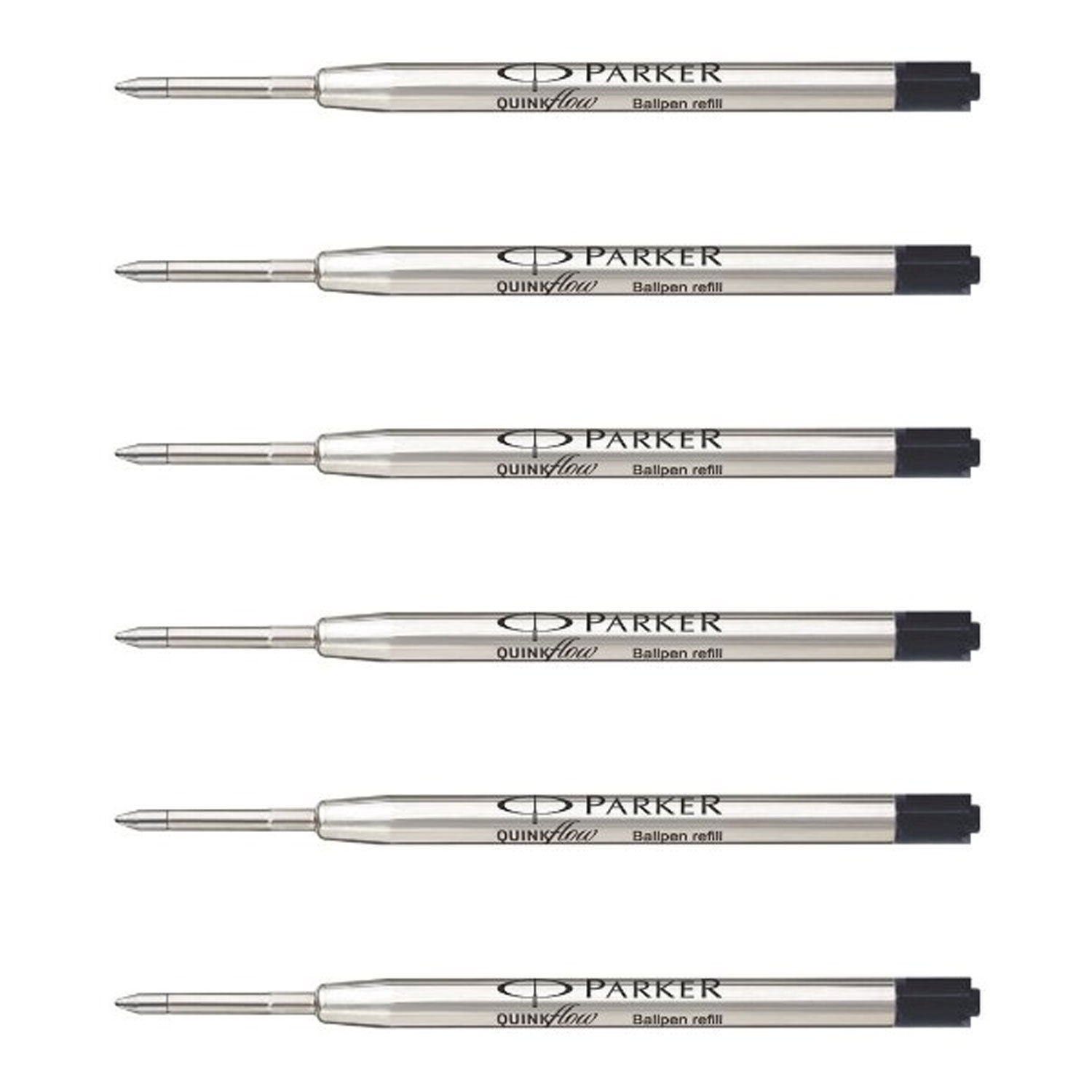 Parker QuinkFlow Ink Refill for Ballpoint Pens, Fine Point, Black Pack of 6 Refills (1782467) by Parker