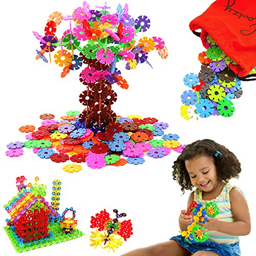 Create o flakes - Creative Brain Building Toy by Skoolzy - 500 Snowflake Connecting Construction Kit for kids - STEM Manipulative Set with Traveling Storage (Kids Log)