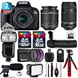 Canon EOS Rebel 800D/T7i Camera + 18-55mm IS STM Lens + Canon 55-250mm IS Telephoto Lens + Pro Flash + Battery Grip + Shotgun Microphone + LED Kit + 2yr Extended Warranty - International Version