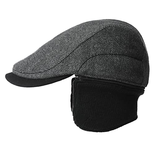 Siggi Wool Tweed Flat Cap Ivy Hat with Ear Flaps Warmer Winter Earflap  Hunting Trapper Hat 831bb4fc133b