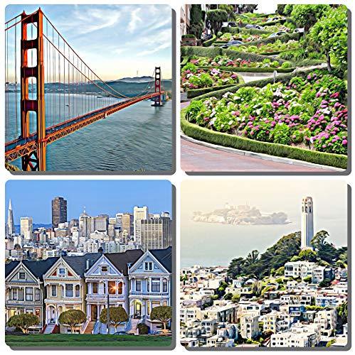 (EXIT82ART - Stone Drink Coasters (Set of 4). Iconic San Francisco. Tumbled Stone, Cork-backed.)