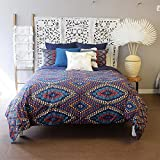 3pc Berber Textile Blue Southwest Duvet Cover Full Queen Set, Cotton, Morocco Bedding Red White Turquiose Southwestern Hippie Colorful Abstract, Solid Navy