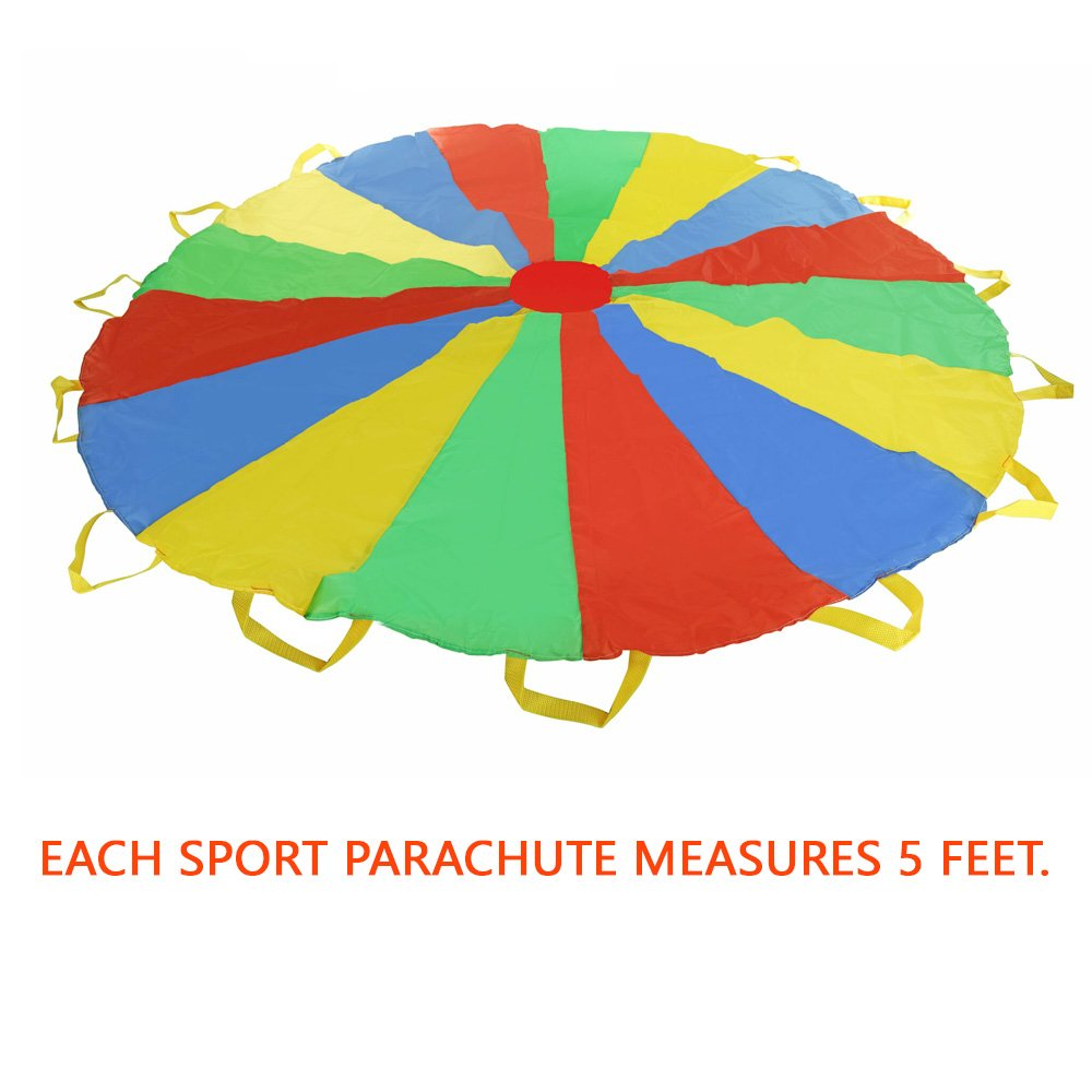 Multi-color 5 feet Parachute - Ideal Summer Sport Activity Playchute For Kids - Amazing Exerciser, Gift, Game, and more! by Toy Cubby (Image #7)