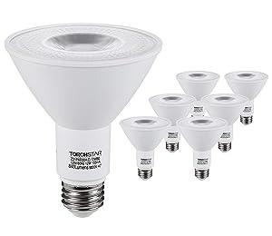 TORCHSTAR PAR30 LED Spot Light Bulb Long Neck, 12W 75W Equiv, Wet Location Dimmable, High CRI90+, 5000K Daylight, 840Lm, E26 Medium Screw Base, Energy Star & UL Listed, 3 Years Warranty, Pack of 6