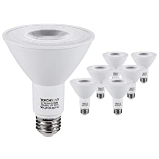 TORCHSTAR PAR30 LED Flood Light Bulbs Long Neck, 12W 75W Equiv., Wet Location Dimmable, High CRI90+, Energy Star & UL Listed, 5000K Daylight, 840Lm, E26 Medium Screw Base, Pack of 6