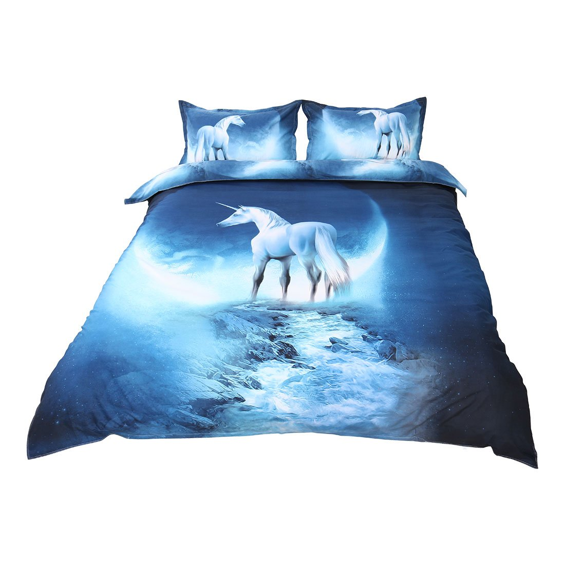 uxcell 3d Galaxy Mysterious Boundless Bedding Sets Duvet/Quilt Cover Set 3pcs Queen Size (White Horse)