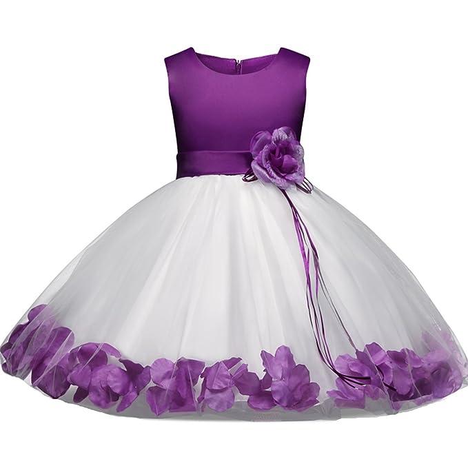 7987432e6 Niña Vestidos, L'ananas Bebé Chicas Sin Mangas Rosa Bowknot Tutu Pétalos de  Flor Dobladillo Fiesta Boda Princesa Morado Vestir Girls Dress: Amazon.es:  Ropa ...