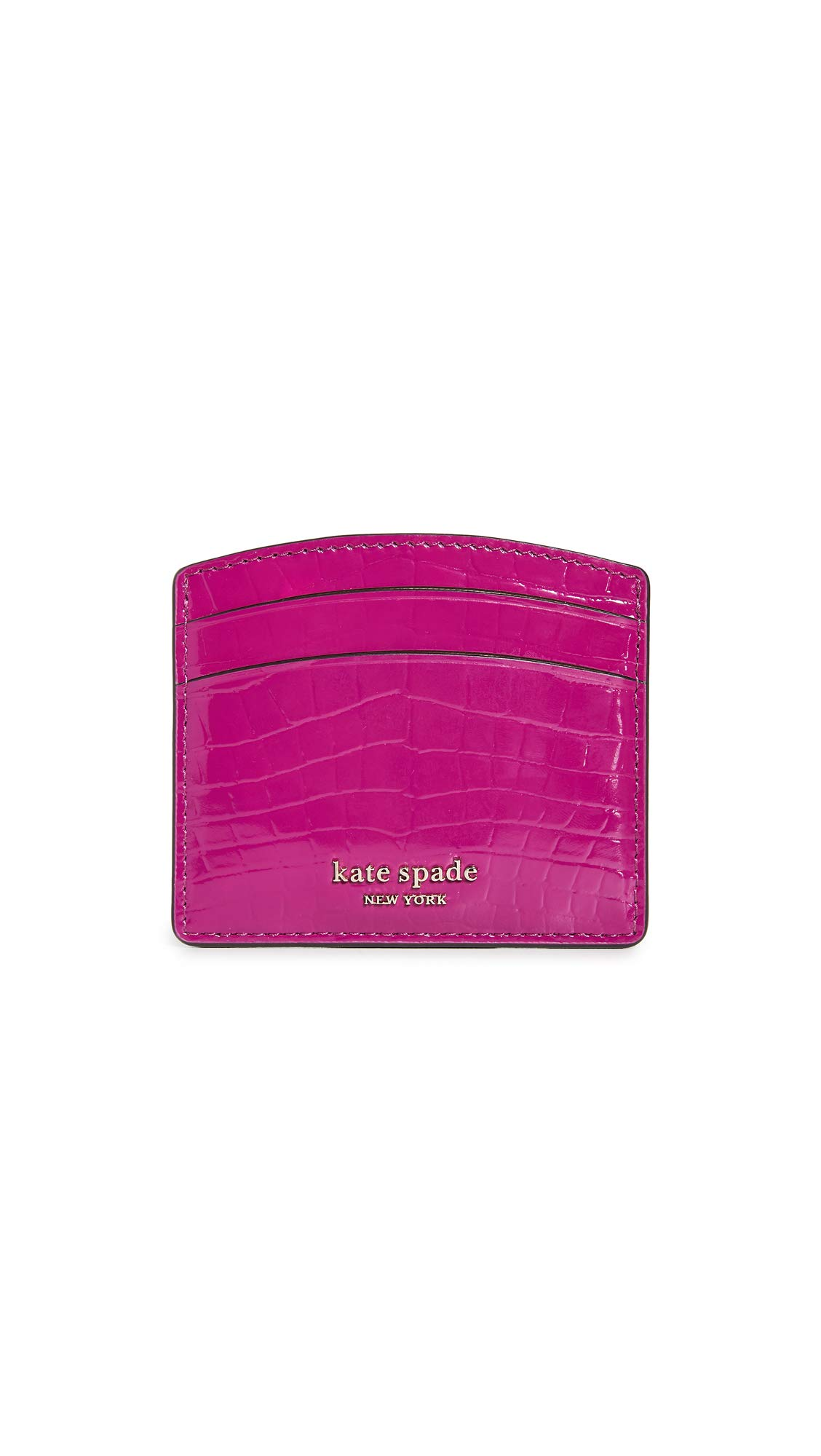 Kate Spade New York Women's Sylvia Croc Embossed Card Holder, Berry Blitz, Pink, Purple, One Size by Kate Spade New York