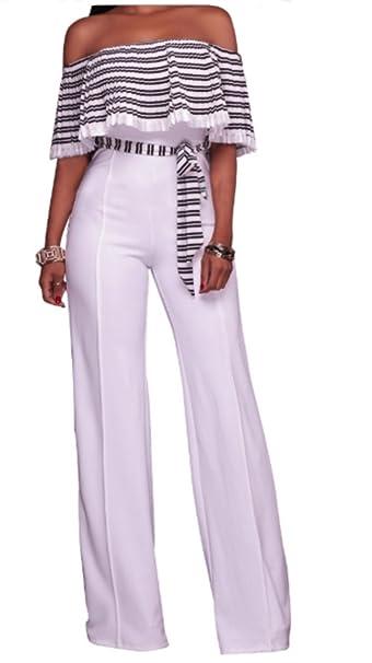 emmarcon Tuta Elegante Pantaloni Lunghi Jumpsuit Vestito Abito da Donna  Casual festa-White-IT48 0cb00df5599c