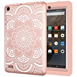 Hocase Fire 7 Case - Hybrid Rugged Shock Proof Protective Cover Case For Amazon Fire 7 Inch Tablet (5th Generation - 2015 release Only) - Rose Gold Flower