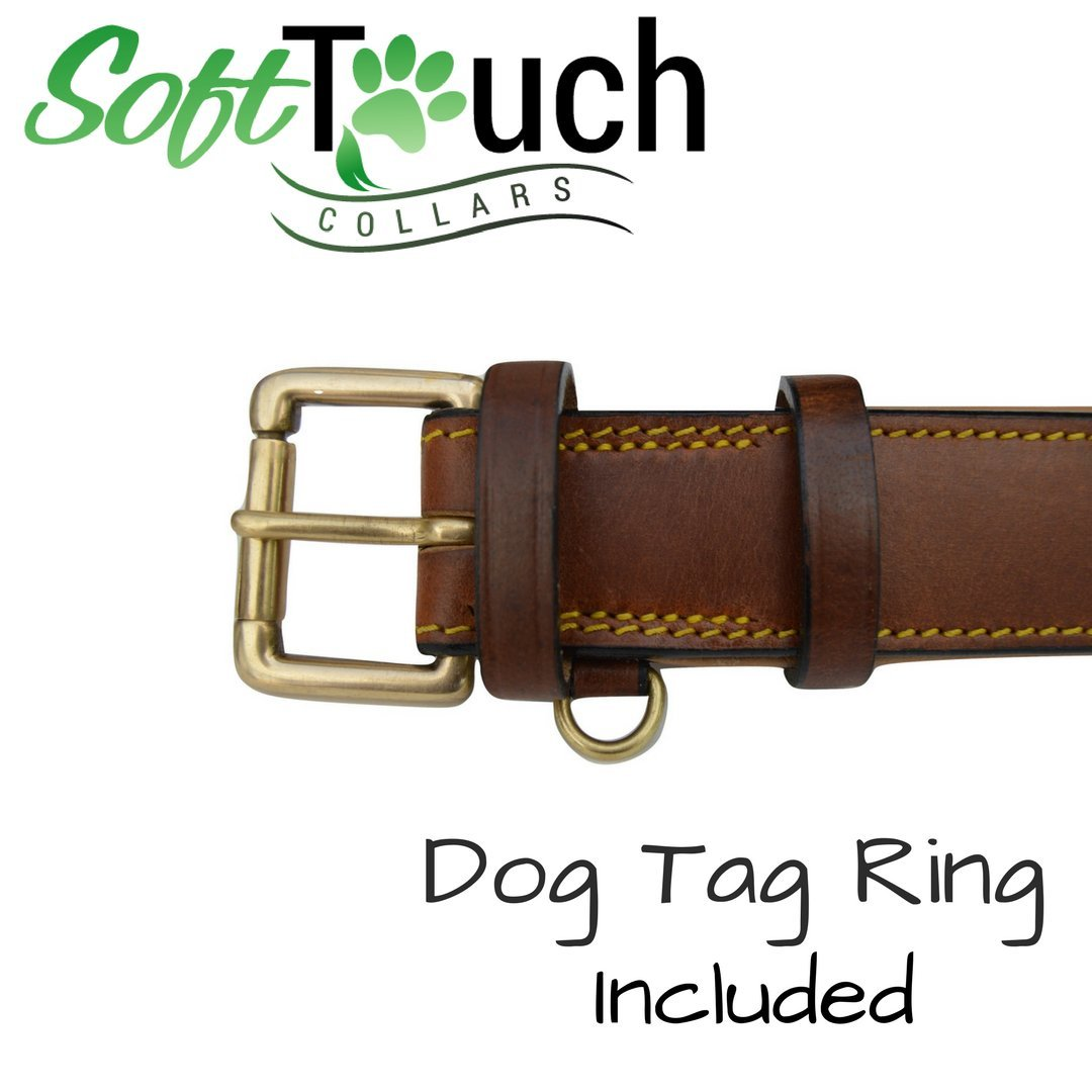 Soft Touch Collars Real Leather Padded Dog Collar, XL Brown, 28'' Inches Long x 1.75'' Inches Wide, Neck Size 22'' to 25'', Full Grain Genuine Luxury Leather for XLarge Dogs by Soft Touch Collars (Image #4)