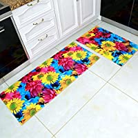 MAXYOYO Creative 3D Sunflower Carpet Runner Rug 2 Pieces Set, Ultra Soft 3D Kitchen Bathroom Anti-slip Area Rug, Bedside Floor Mat Set 31x20 In + 63x20 In