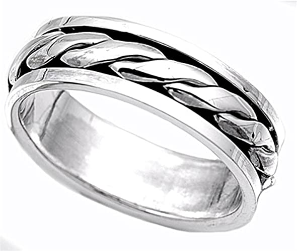CloseoutWarehouse Sterling Silver Twisted Rope And Plain Design Spinner Ring