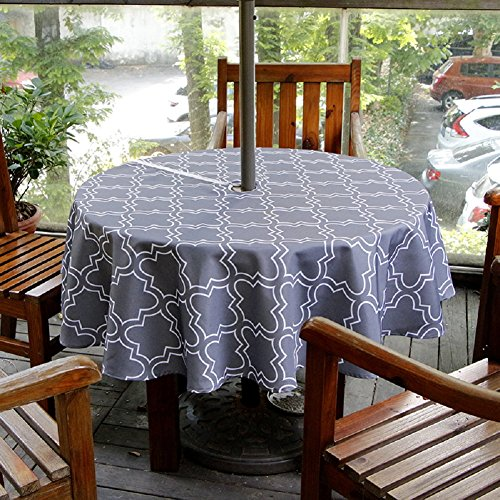 Lamberia Patio Outdoor Umbrella Tablecloth with Zipper and Umbrella Hole, Water and Stain Resistant (60 Round, Grey)