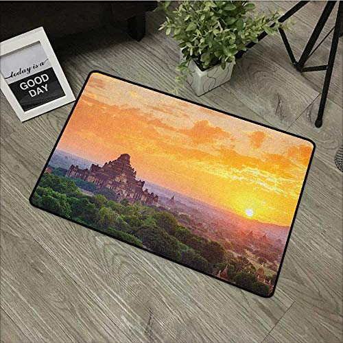 (Door mat W35 x L47 INCH Asian,Aerial View of Famous Asian Temple on Top of The Mountain Horizon Mystery Scenery, Orange Green Natural dye Printing to Protect Your Baby's Skin Non-Slip Door Mat Carpet)