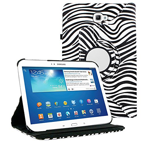 Galaxy Tab A 8.0 2017 T380 Case by KIQ 360 Rotating Swivel PU Leather Cover Multiple-Angle Stand for Galaxy Tab A 8.0-inch 2017 (SM-T380 / SM-T385) (Zebra - 8 Tablet Inch Case Zebra