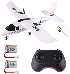 RC Airplane Remote Control Plane 2.4GHz 2 Channel Gyro DIY Plane Ready to Fly 352mm Wingspan for Beginner Kids Boys Gift(QF-002)